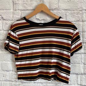 4/$20🍄 GARAGE Striped Crop Top Tee T-Shirt
